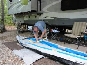 Lee putting together the Sea Eagle