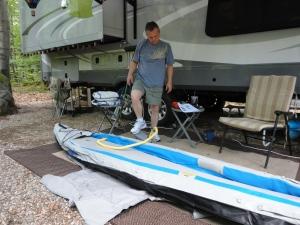 Lee pumping up the Sea Eagle Kayak