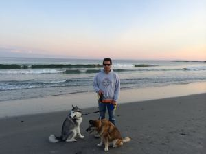 Ben, Peyton, and Anubis on the beach
