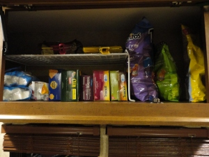 Chips and snacks all together and organized