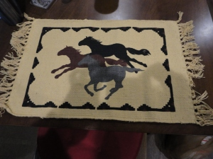 Love Love these table mats...the horses even match the colors of our rig and they are sturdier than the other mats we had