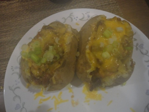 Chili-Cheese Baked Potatoes