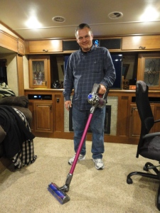 Dyson Slim Line sweeper which Jo and Ben have and loved. The price tag was high but it works great and fits right in our little coat closet area