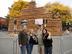 Greg, Cori, Steve, and Deb in front of the large pumpkin tower