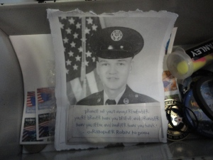 In her locker she had a picture of Lee (who graduated from basic at the same base) and a quote I had sent her