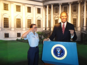 Wax museum...Kay saluting her commander in chief
