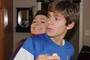 My niece Bailey hugging her brother..he's thrilled :)