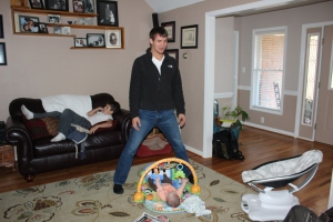 Jake towers over the baby :)