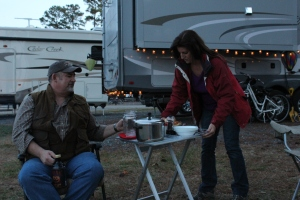 Deb and Steve bringing us Stew and biscuits...yummy