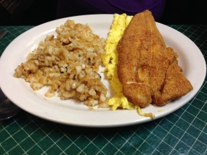 Look at this piece of catfish...unbelievable and I think her breakfast was $6
