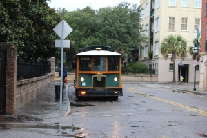 """Trolley"" bus provide transportation downtown"