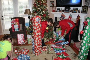 Alec and Bryce and the pile of present