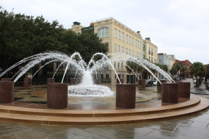 Really neat fountain that people are allowed to play in