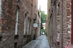 Narrow alleyways where only a compact car can drive down