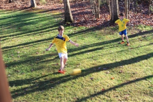 Loved watching the boys play soccer on Christmas day...never seen that before