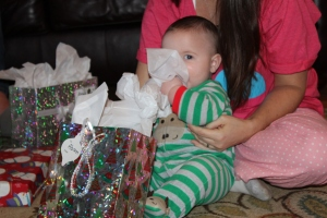 Abram loved the tissue paper the best.