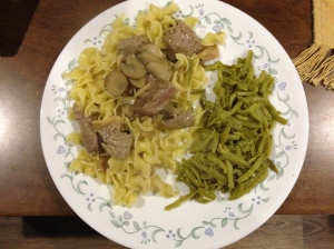 Sirloin Tips and Noodles with Easy Peasy Green Beans