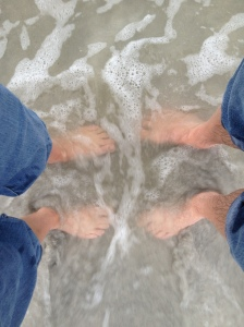 Our feet in the ocean together... The new Lee takes his shoes off and walks in the sand :)