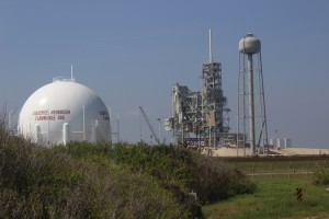 The launch pad and water tower being worked on by Space - X