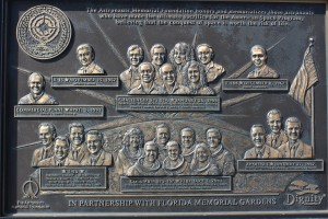 Memorial plaque for the astronauts who have dies