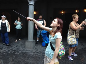 Kat bought a wand at HArry Potter world in Universal which is interactive with displays in Diagon Alley