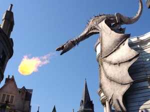 Great shot of the dragon breathing a fire ball