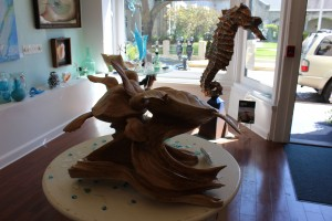 Beautiful wood sculpture of turtles was done from one piece (except for the flippers)