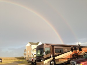 Double rainbow from the tropical storm