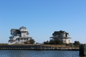 Beautiful houses along the shore