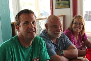 Greg, Bill, and Kelly at the restaurant