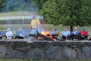 Howard tending the first bonfire