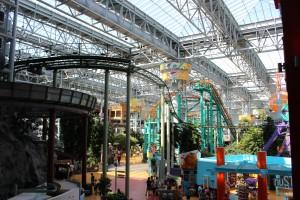 An an indoor Nickolodean themed amusement park
