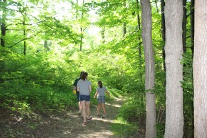 Walking the nature trail with Susan and the girls