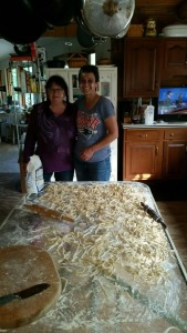 Linda and I making some noodles. The flour on our faces was added for effect :)