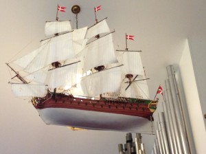 This handmade Danish ship was made by a deceased parishioner and hangs proudly from the rafters