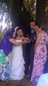 Linda, Kat, Micah, and I during the handfasting ceremony