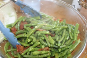 Fresh green beans with bacon