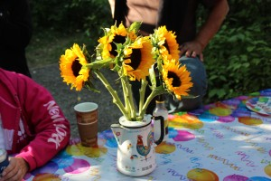 They bought me sunflowers and Ellen pt them in this cool teapot she found in a thrift store