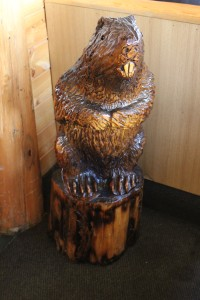 This carved beaver statue was very cool