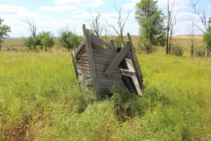 What was left of the outhouse..with it's old wooden seat