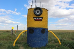 A minion made from hay bales...Lee loved this
