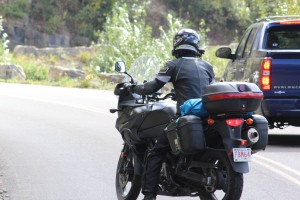 Motorcyclist backing up
