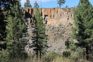 Cliffs across from the creek whete people like to rappel and climb