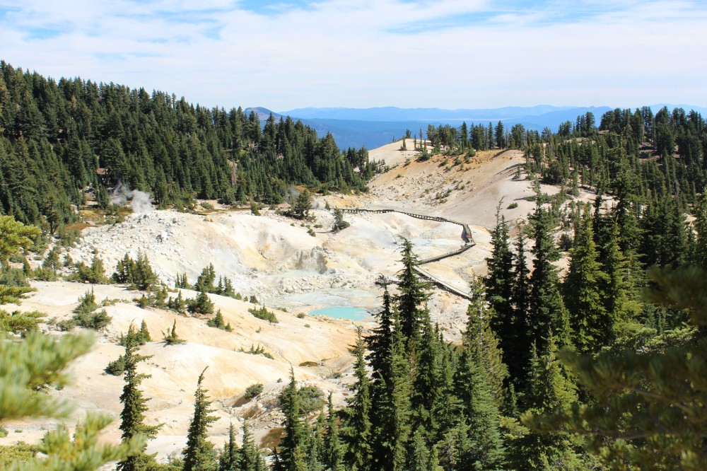 Bumpass Hell named for the explorer who discovered it, was going to turn it into a tourist attraction, and then lost his leg when it fell through the crust into the steaming hot mud