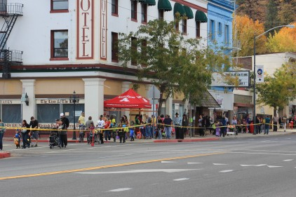 The line stretched around both sides of the downtown for candy