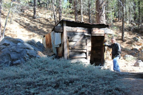 An old powder shed build by the railroad out of railroad ties