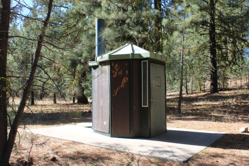 There was a pit toilet available for use near a federal land campground we passed through