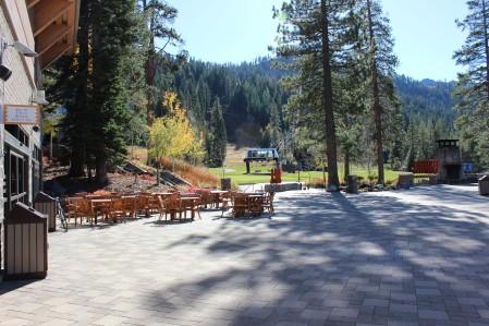 The patio and ski lift area