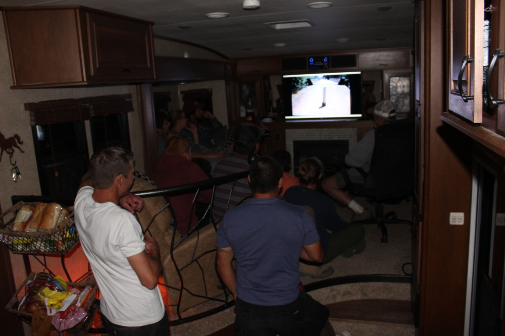 Stan showed a slide show in the rig. Who knew this many people could fit inside. I stayed outside..no way with the claustrophobia, but it's good to know we can squeeze this many in. Was a bit like a clown car though when everyone came out :)
