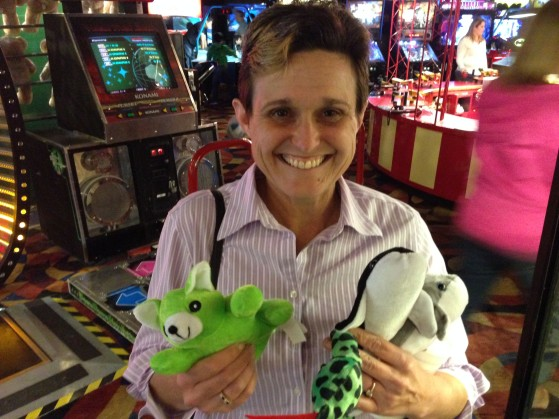 What girl doesn't like an armful of stuffed animals at an arcade